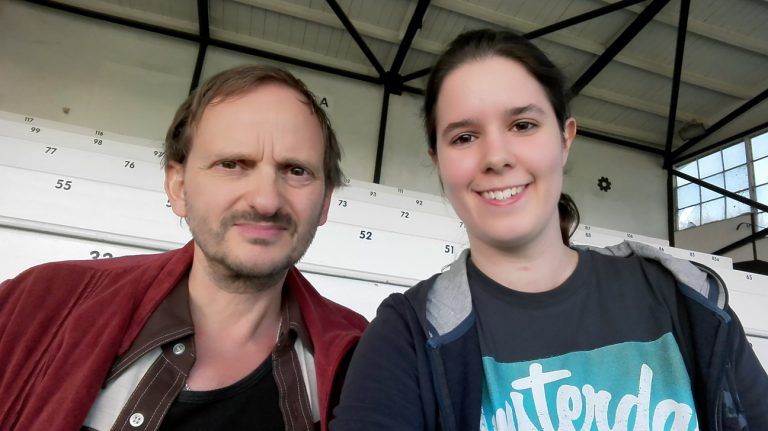 bonnFM-Autorin Désirée Wilde mit Milan Peschel.  Bild: Désirée Wilde/bonnFM